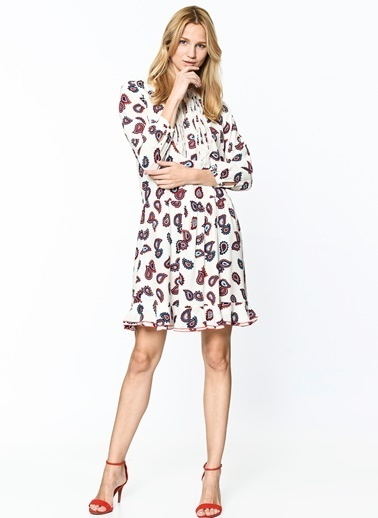 Desenli Uzun Kollu Kloş Elbise-Tommy Hilfiger